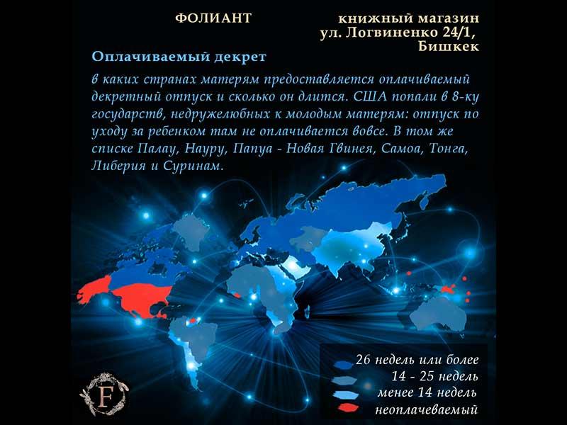 статистика по странам оплачиваемый декрет интересные факты от Фолиант книги Бишкек